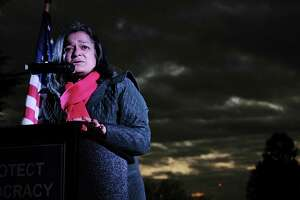 U.S. Rep. Pramila Jayapal (D-Wash.) speaks to a crowd gathered to protest President Trump's declaration of a national emergency to fund his border wall, Mon. Feb. 18, 2019, at Volunteer Park. The event was part of a National Day of Protest condemning what opponents of Trump are calling a manufactured crisis.