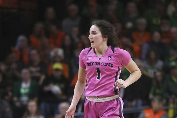 Oregon State's Aleah Goodman (1) dribbles up the court during the second half of an NCAA college basketball game against Oregon in Corvallis, Ore., Monday, Feb. 18, 2019. Oregon State won 67-62. (AP Photo/Amanda Loman)