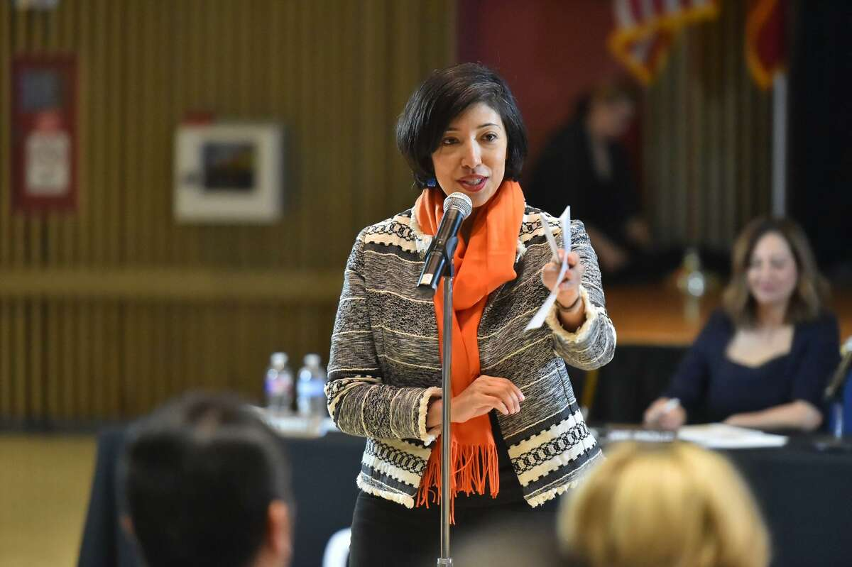 San Antonio Councilwoman Ana Sandoval speaks during a CPS Energy public input meeting Feb. 18, 2019, about the city's Climate Action and Adaptation Plan. One overall goal is that the city be carbon neutral by 2050, meaning it would stop emitting greenhouse gases by then.