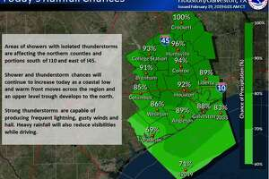 Thunderstorms today could bring frequent lightning, gusty winds and hail to the Houston area, according to the National Weather Service.