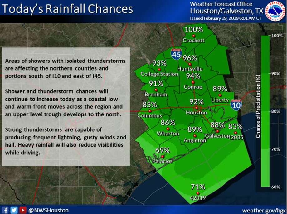 Thunderstorms today could bring frequent lightning, gusty winds and hail to the Houston area, according to the National Weather Service.  >>How bad can it get in Houston? We've rounded up the largest one-day rain totals for the past few years.  Photo: National Weather Service
