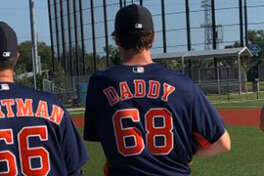 Forrest Whitley received a new uniform for Tuesday's workout at Astros spring training.