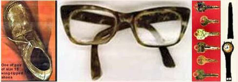 State Police in Orange County say this shoe, glasses, keys and Timex watch were found on the remains of a man whose body was revealed after a swamp was draining in 1991. State Police investigators believe the man died sometime between 1975 and 1986.