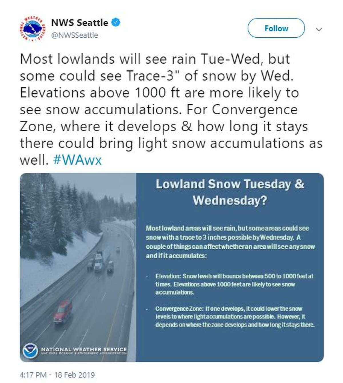 Lowland snow was possible, but unlikely, and depended entirely on whether or not a convergence zone forms, according to the National Weather Service.