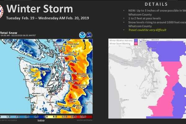 A storm moving in Tuesday was likely to bring snow to foothills and mountain areas of Snohmish, King, Pierce and Lewis counties, prompting a winter storm warning in the pink areas above.