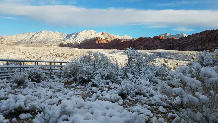 Red Rock Canyon Recreation Area near Las Vegas, Nev., shared images of a snowy landscape on Feb. 18, 2019. Photo: Red Rock Canyon Recreation Area