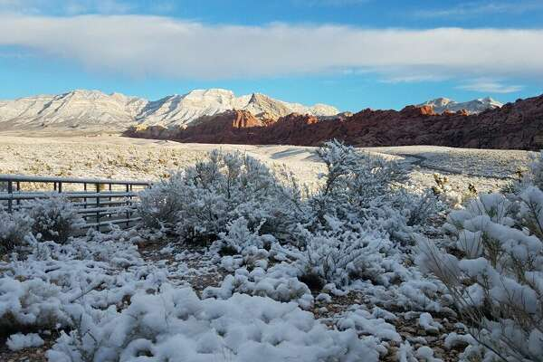 Red Rock Canyon Recreation Area near Las Vegas, Nev., shared images of a snowy landscape on Feb. 18, 2019.
