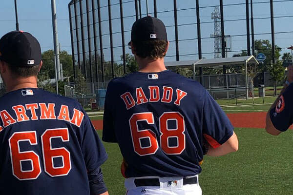 Houston Astros pitching prospect Forrest Whitley took the field on Tuesday, Feb. 19, 2019 with a jersey that said Daddy on the back.
