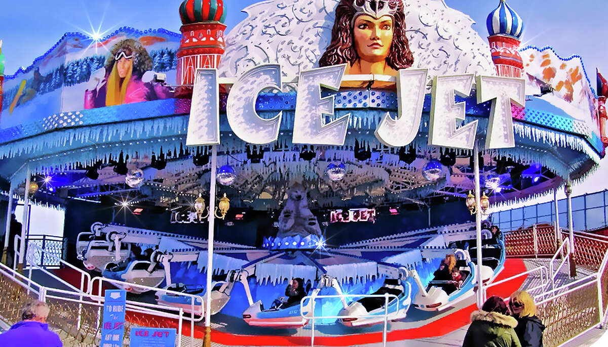 """Ice Jet The Ice Jet, which has a """"runaway toboggan"""" theme, not only moves forward and backward, but also rotates in a circular motion."""