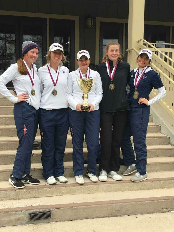 The Clear Lake High School girls golf team won the Bastrop Pfeiffer-Oldfield Tournament by nine strokes Feb. 15-16 at Wolfdancer Golf Club in Bastrop. Team members from left and their scores are Mallary Stroh (88), Avery Flanagan (89), Juliana Hickman (95), Julia Webb (87) and Lexie Manriquez (90). Hickman also won the long drive contest and Manriquez won the closest to the pin contest. Photo: Submitted Photo