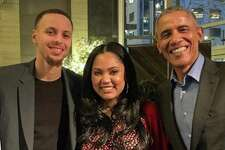 Former President Barack Obama dined at International Smoke in San Francisco, Calif., on Feb. 18, 2019. The restaurant is owned by elebrity chefs Michael Minna (pictured left) and Ayesha Curry, wife of Warrios star Steph Curry.