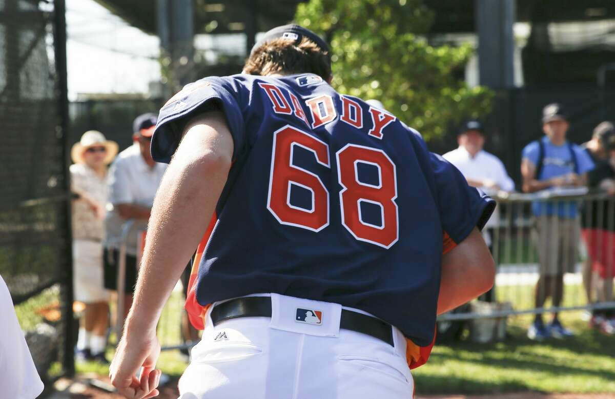 PHOTOS: Astros spring training Houston Astros right handed pitcher Forrest Whitley (68) got a new jersey for the day at Fitteam Ballpark of The Palm Beaches on Day 6 of spring training on Tuesday, Feb. 19, 2019, in West Palm Beach. Browse through the photos to see action from Astros spring training on Tuesday, Feb. 19, 2019.