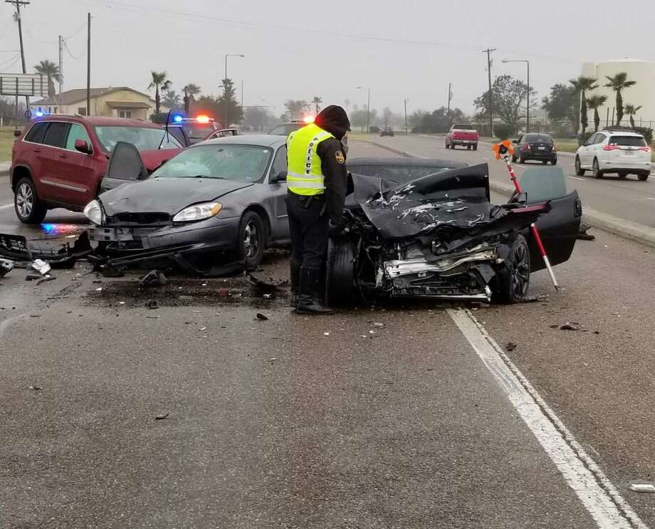 A head-on collision was reported Tuesday morning near the Laredo International Airport. Authorities said a man in his 20s was transported in critical condition to Laredo Medical Center. Photo: Laredo Police Department