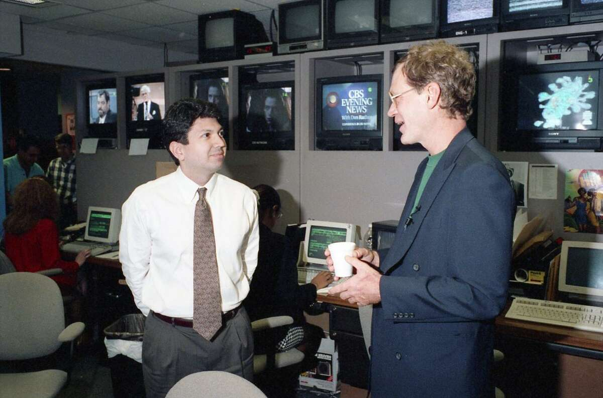David Letterman with news producer Ron Trevino at KHOU studios, March 9, 1993.