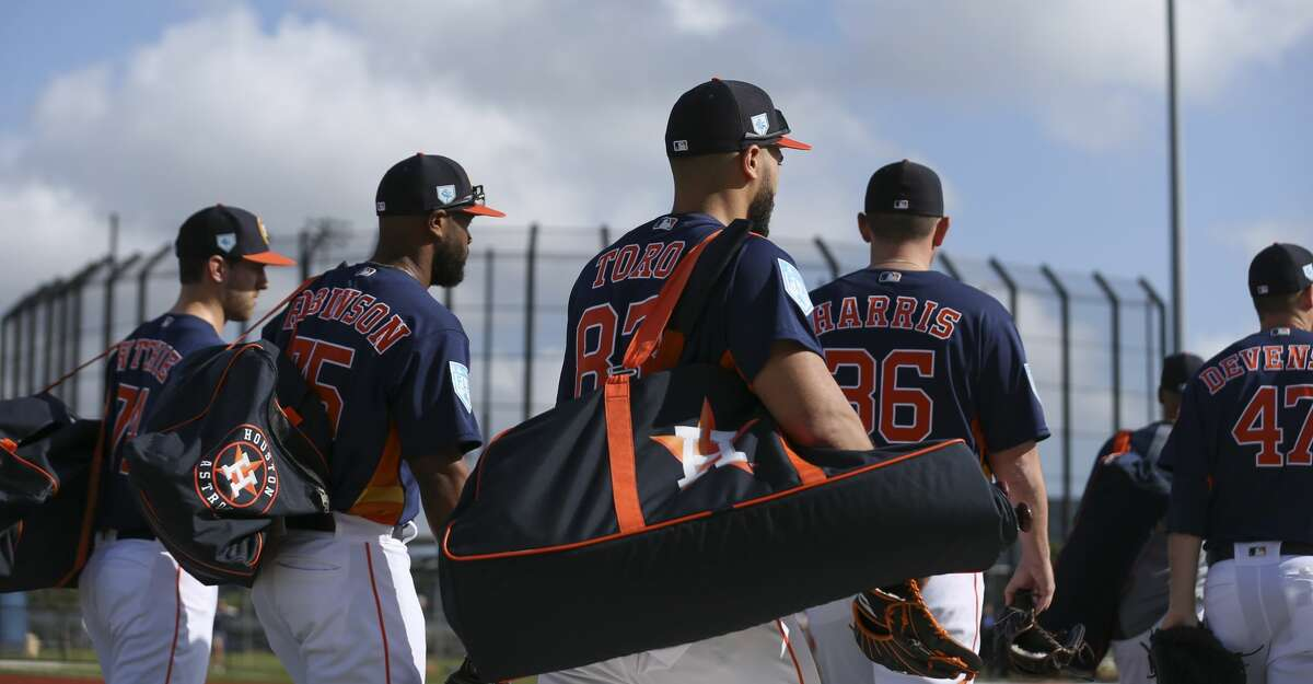 PHOTOS: Astros spring training Houston Astros players head toward the fields to start the first full-squad practice at Fitteam Ballpark of The Palm Beaches on Monday, Feb. 18, 2019, in West Palm Beach. Browse through the photos to see action from Astros spring training on Tuesday, Feb. 19, 2019.