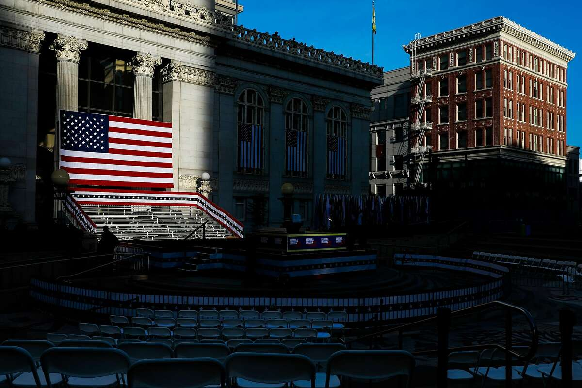 The American flag is seen as people set up for presidential candidate Kamala Harris's campaign rally in Oakland, California, on Sunday, Jan. 27, 2019.