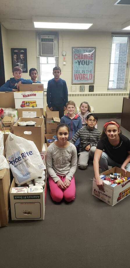 Students at Shelter Rock Elementary School collected 1,200 items to donate to the Dorothy Day Hospitality House in just the first two weeks of February. Photo: Contributed Photo / Danbury Public Schools
