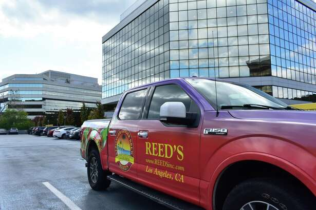 A Reed's corporate vehicle in October 2018 at the Merritt 7 office complex it now calls home, after the ginger beer maker moved its main office east from Los Angeles in the third quarter.