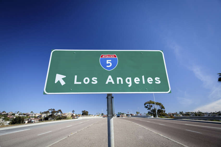 Road sign contrasting from the deep blue sky pointing the way to Interstate 5 to Los Angeles. Scroll ahead to see the best food stops on I-5 between San Francisco and Los Angeles. Photo: (Photo By Dünzl\ullstein Bild Via Getty Images)