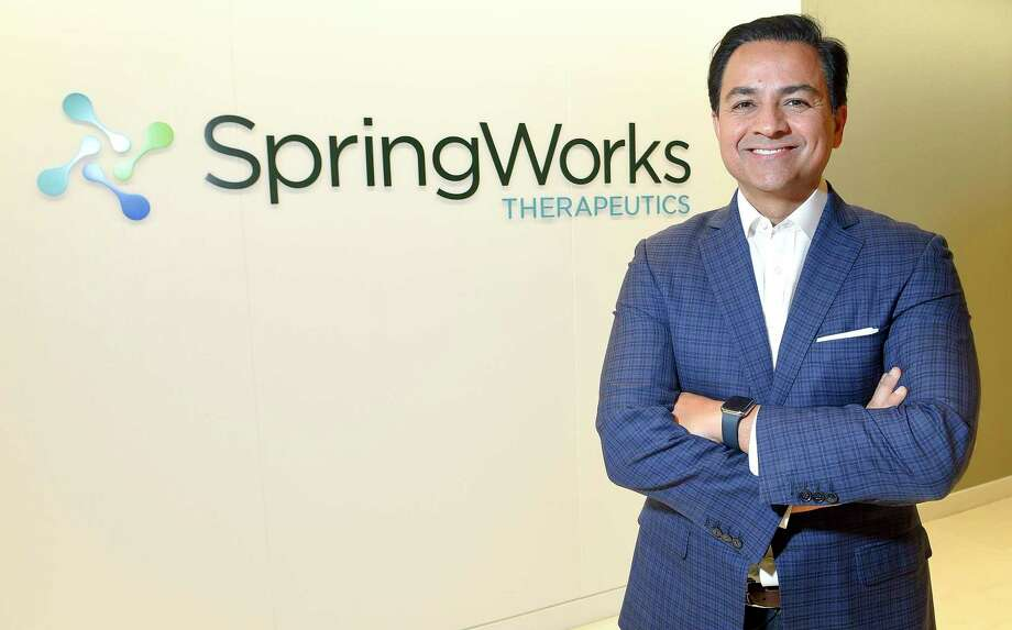 Saqib Islam is CEO of Springworks Therapeutics, which is based at 100 Washington Blvd., in Stamford, Conn. Photo: Matthew Brown / Hearst Connecticut Media / Stamford Advocate
