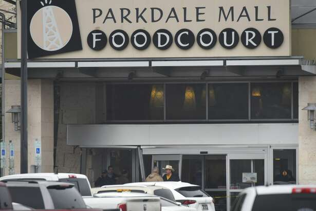 A truck drove into the food court entrance of the Parkdale Mall Tuesday afternoon, damaging doors on the left side.