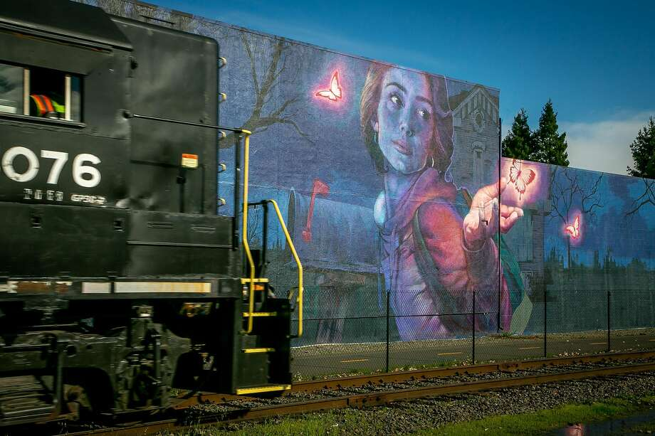 Murals next to the tracks in the Rail Arts District in Napa, Calif. Photo: John Storey / Special To The Chronicle