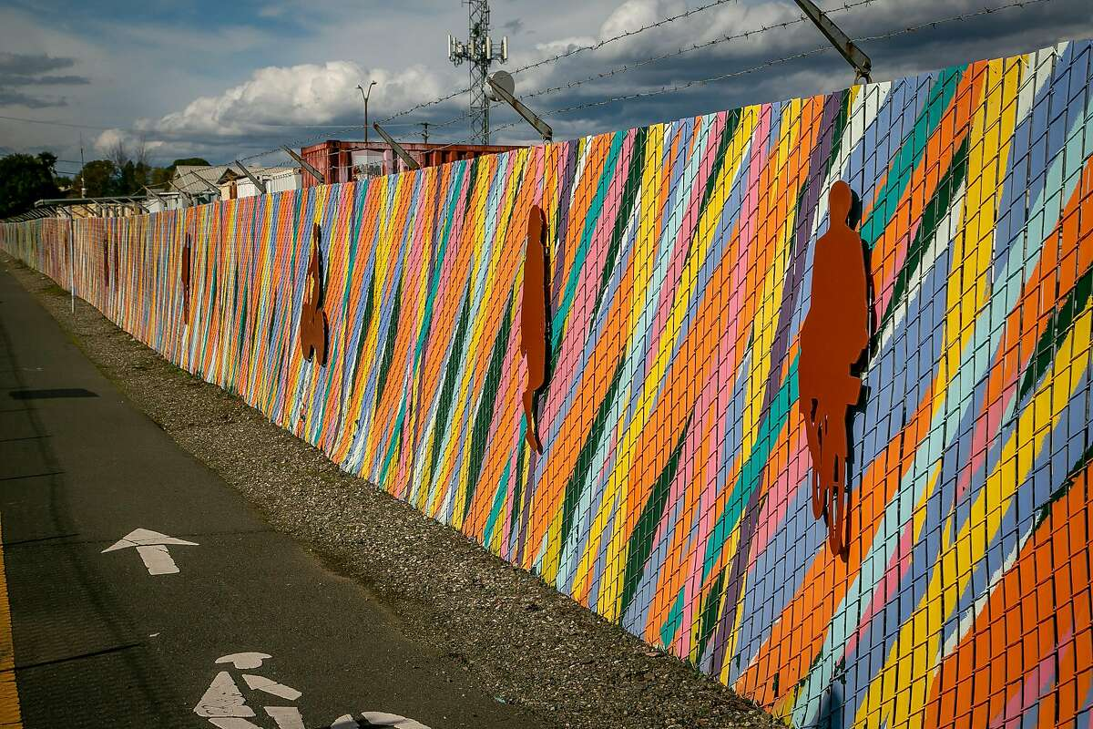 An art installation by Mikey Kelly next to the tracks in the Rail Arts District in Napa.