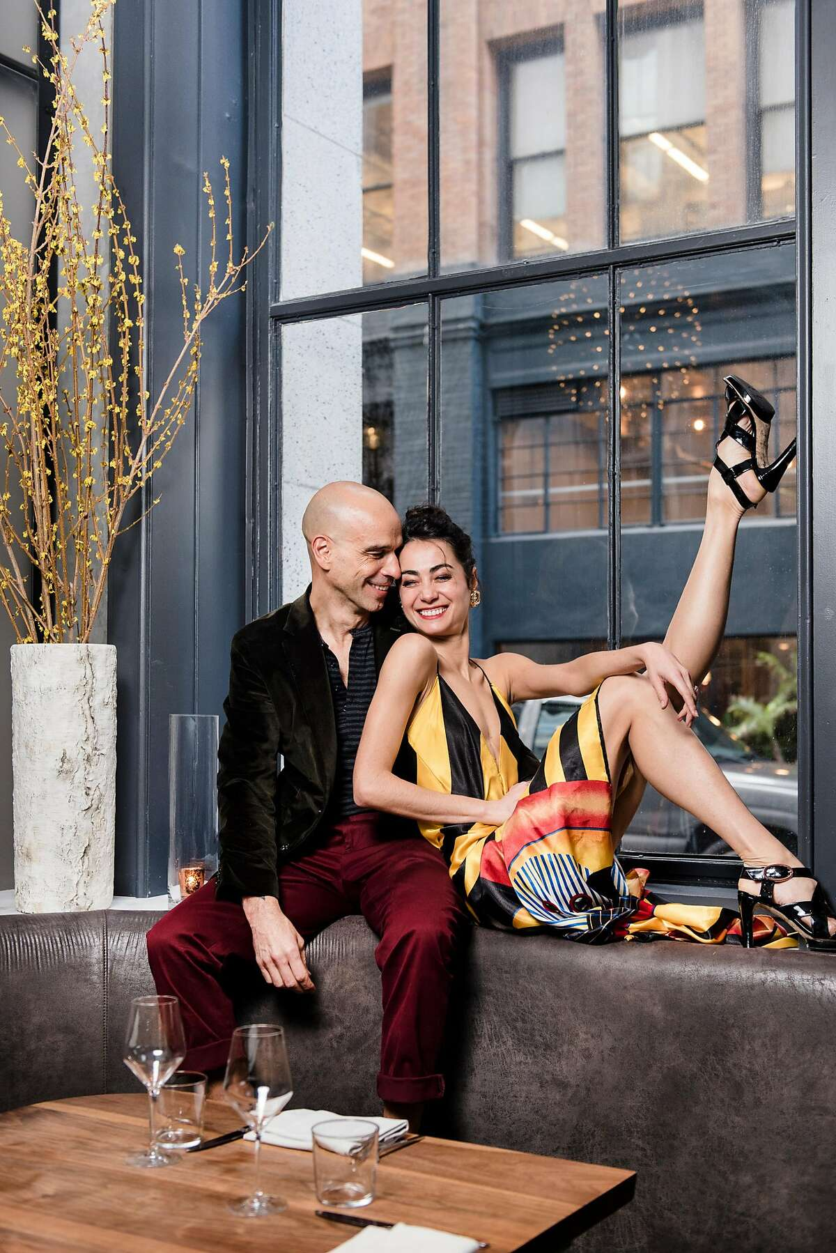 San Francisco Ballet principal dancer Mathilde Froustey, right, and Michelin-starred chef Mourad Lahlou, who are engaged to be married, pose for a portrait in San Francisco, Calif., on Monday, February 4, 2019.