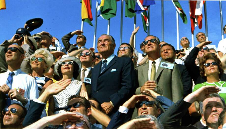 Former President Lyndon B. Johnson and then-current Vice President Spiro Agnew are among the spectators at the launch of Apollo 11, which lifted off from Pad 39A at Kennedy Space Center at 9:32 am EDT on July 16, 1969. / NASA