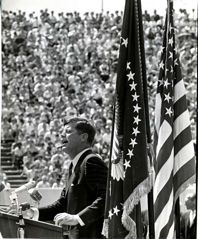 President John F. Kennedy addresses a crowd at Rice Stadium in Houston on Sept. 12, 1962.