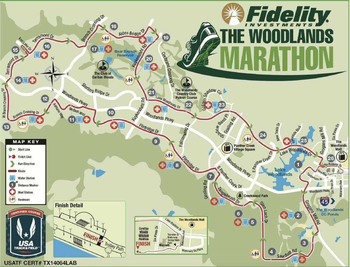 The course map for the 2019 The Woodlands Marathon.