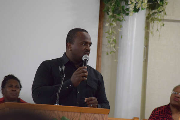 Individuals gathered at the Happy Union Baptist Church Sunday for Plainview AHEAD's Grand Finale event that capped off a weekend of black history celebrations with a guest speaker. Julian Reese, I, (pictured) was the guest speaker at the Grand Finale event.