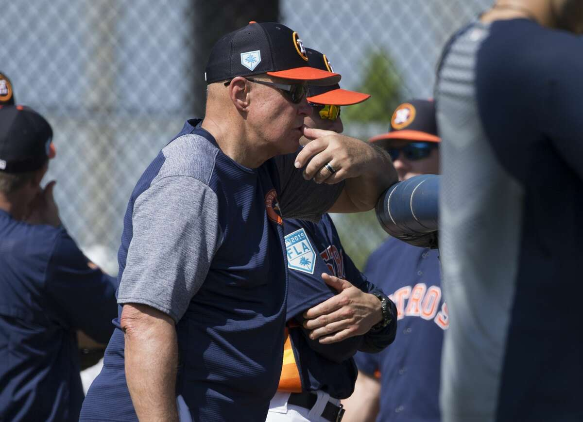 PHOTOS: Everything you should know about Zack Greinke Houston Astros pitching coach Brent Strom (56) watches the live batting practice from behind the home plate at Fitteam Ballpark of The Palm Beaches on Day 6 of spring training on Tuesday, Feb. 19, 2019, in West Palm Beach. >>>Browse through the photos to learn everything about the Astros' newest ace ...