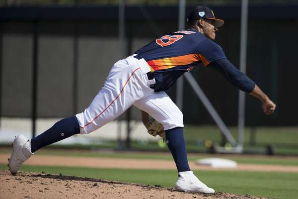 Houston Astros right handed pitchers Bryan Abreu (88) pitches during live batting practice at Fitteam Ballpark of The Palm Beaches on Day 6 of spring training on Tuesday, Feb. 19, 2019, in West Palm Beach.