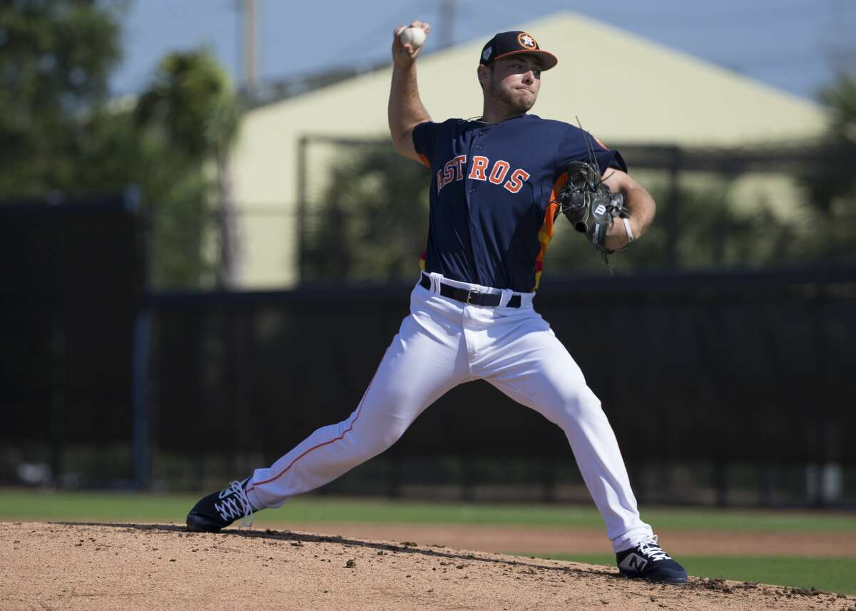 Houston Astros right handed pitcher Corbin Martin (67) pitches during live batting practice at Fitteam Ballpark of The Palm Beaches on Day 6 of spring training on Tuesday, Feb. 19, 2019, in West Palm Beach.