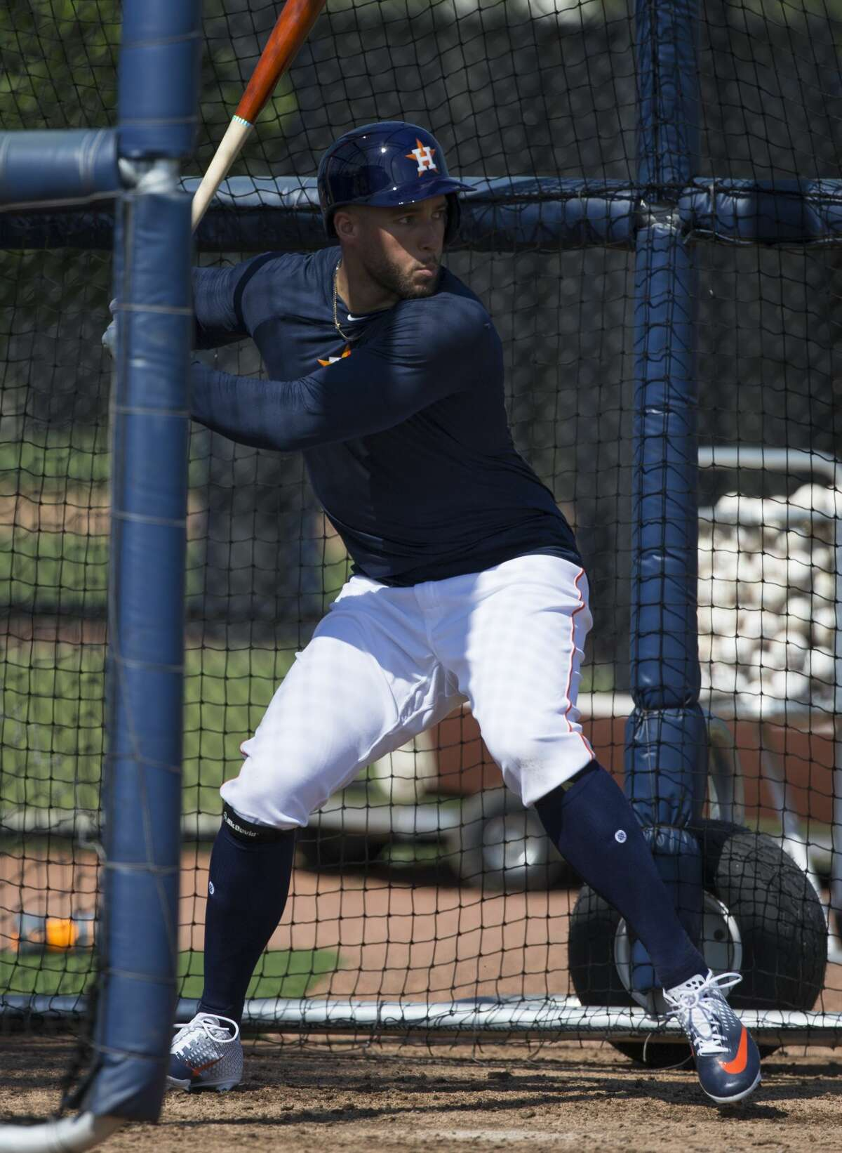 Houston Astros outfielder George Springer (4) is ready to swing during live batting practice at Fitteam Ballpark of The Palm Beaches on Day 6 of spring training on Tuesday, Feb. 19, 2019, in West Palm Beach.