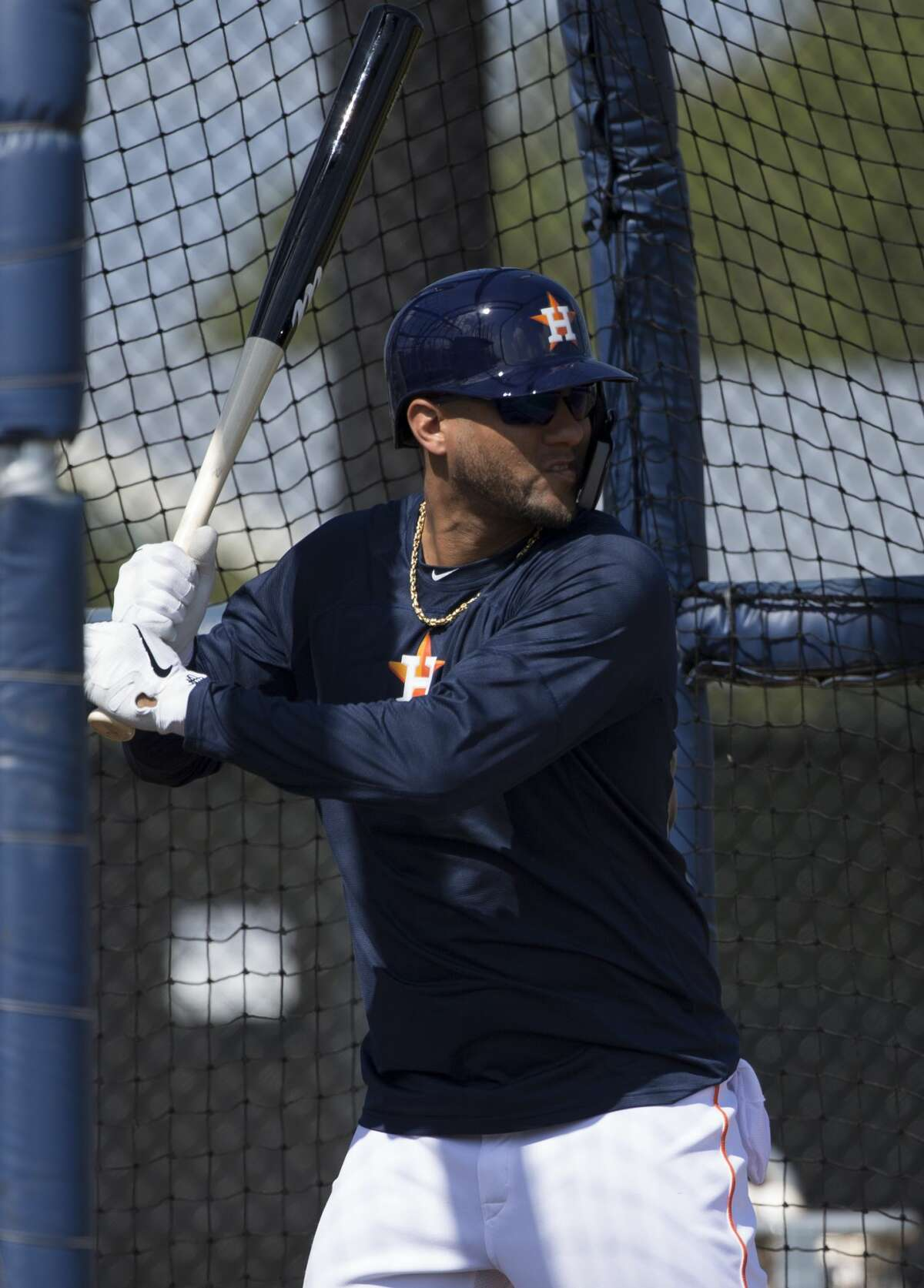 Houston Astros first baseman Yuli Gurriel (10) is ready to swing during live batting practice at Fitteam Ballpark of The Palm Beaches on Day 6 of spring training on Tuesday, Feb. 19, 2019, in West Palm Beach.