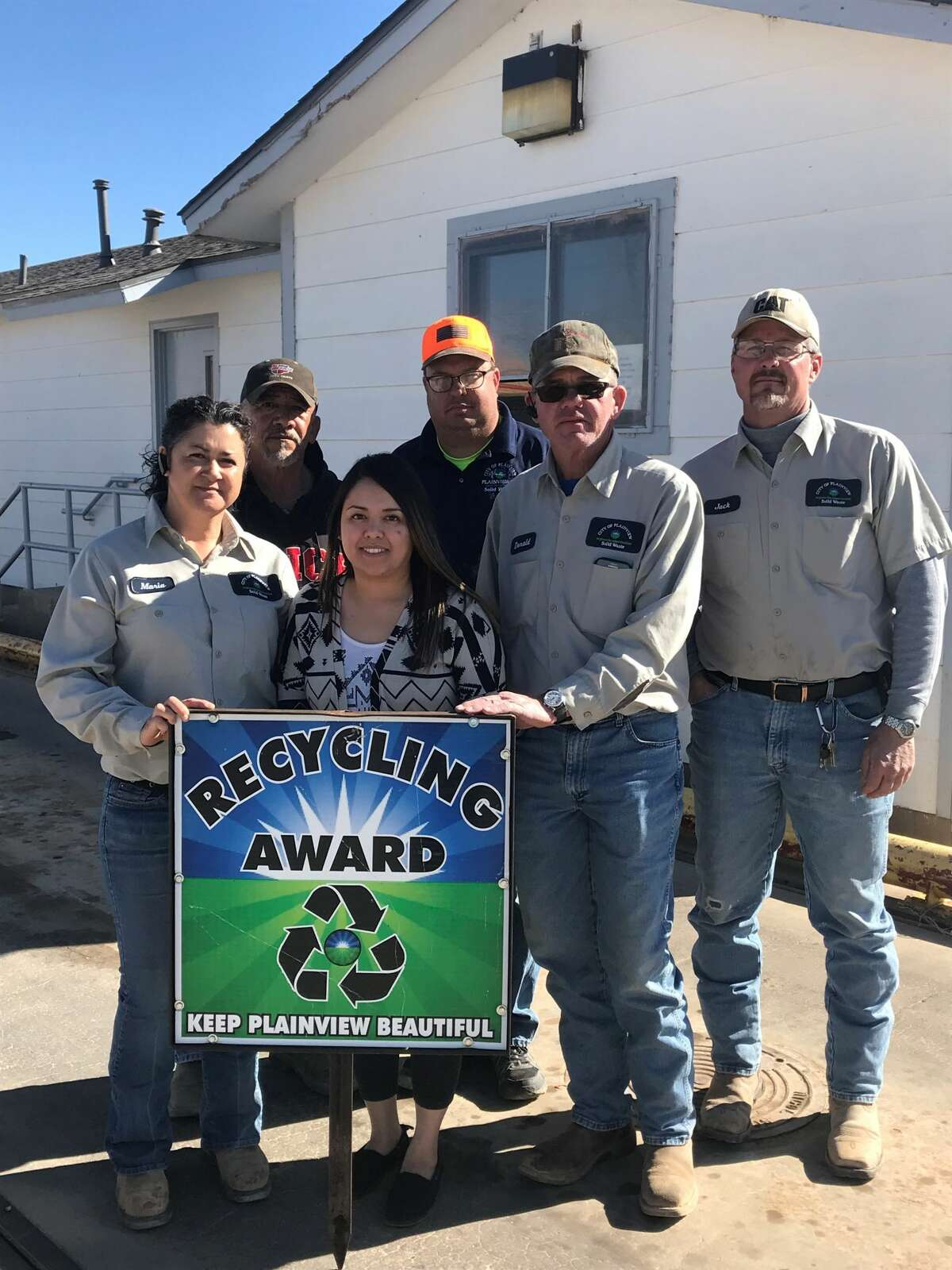 Recycling Award: City of Plainview Landfill (L-R) Phil Deluna, Brocke Lively, Jack Ball, Maria Rodriguez, Diane Botello and Donald Thomas