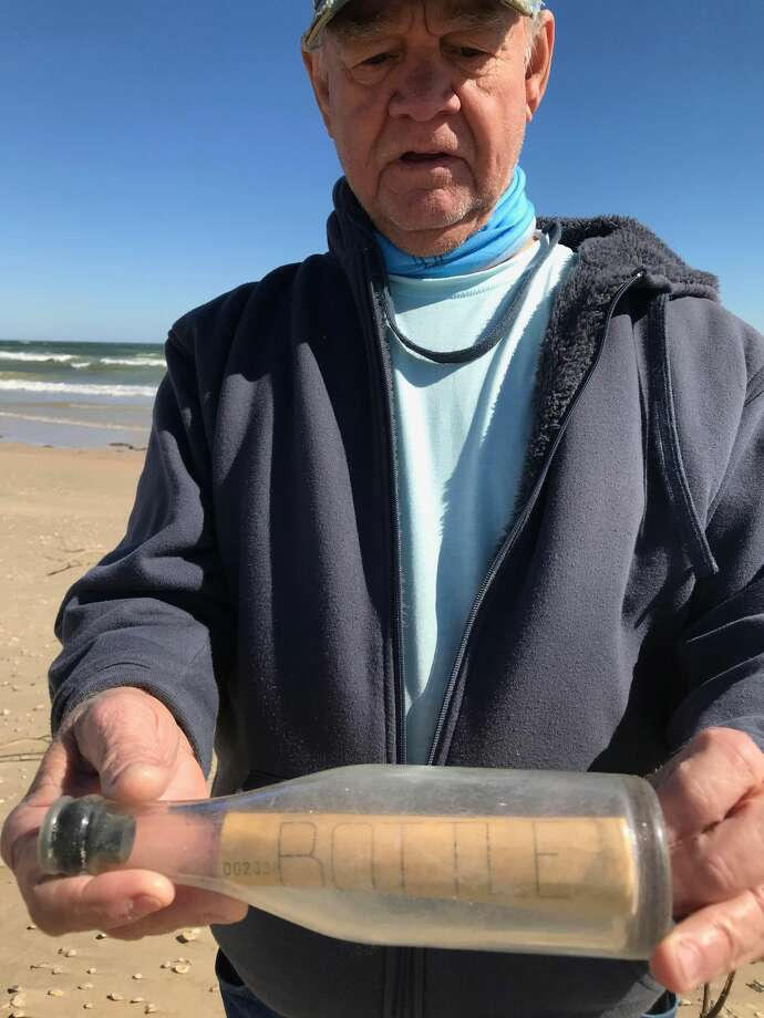 A message in a bottle dropped in the Gulf of Mexico by a Galveston laboratory was found by a Corpus Christi, Texas, couple.