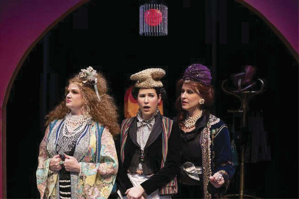 """Malinda L. Beckham as Anna, Jenna Morris as The Maid and Melissa J. Mayo as Claire in Dirt Dogs Theatre Company's production of """"Boston Marriage"""" on stage through Feb. 23."""