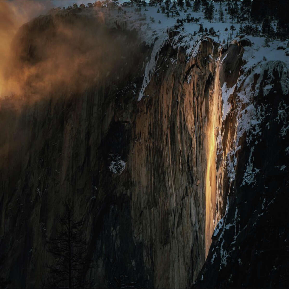 """The Horsetail Fall natural phenomenon commonly known as """"firefall"""" in Yosemite National Park captured on Monday, Feb. 18, 2019. The lava-like effect only occurs in mid-late February when the setting sun hits the waterfall at exactly the right angle."""