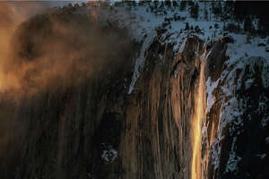 "The Horsetail Fall natural phenomenon commonly known as ""firefall"" in Yosemite National Park captured on Monday, Feb. 18, 2019. The lava-like effect only occurs in mid-late February when the setting sun hits the waterfall at exactly the right angle."