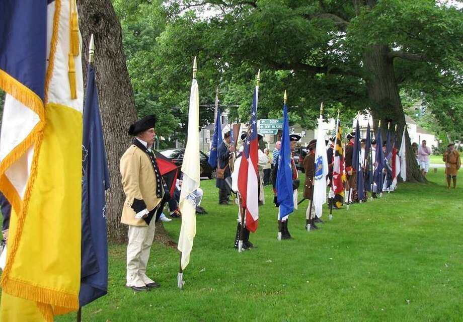 The First Litchfield Artillery took part in an event on the Litchfield green in 2018; groups are planning events to celebrate the town's 300th anniversary on the green in September. Photo: Contributed Photo /