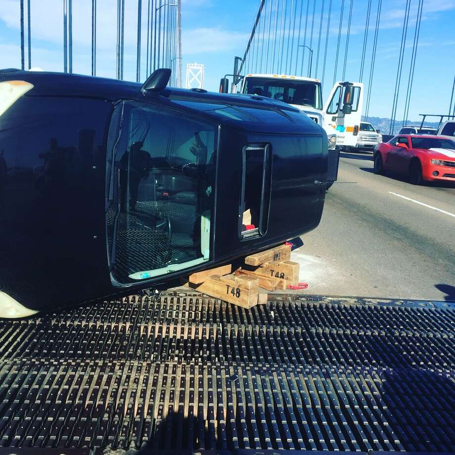 Flipped vehicle shuts westbound Bay Bridge lanes, creates traffic backup
