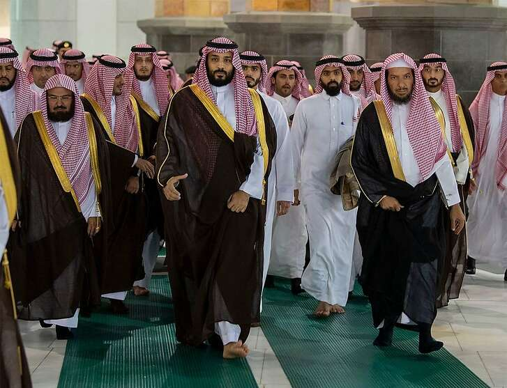 """A handout picture provided by the Saudi Royal Palace on February 12, 2019, shows Saudi Crown Prince Mohammed bin Salman (C) visiting Islam's holiest shrine of the Grand Mosque in Saudi Arabia's holy city of Mecca, as he inspects expansions to the site. (Photo by Bandar AL-JALOUD / Saudi Royal Palace / AFP) / RESTRICTED TO EDITORIAL USE - MANDATORY CREDIT """"AFP PHOTO / SAUDI ROYAL PALACE / BANDAR AL-JALOUD"""" - NO MARKETING - NO ADVERTISING CAMPAIGNS - DISTRIBUTED AS A SERVICE TO CLIENTSBANDAR AL-JALOUD/AFP/Getty Images"""