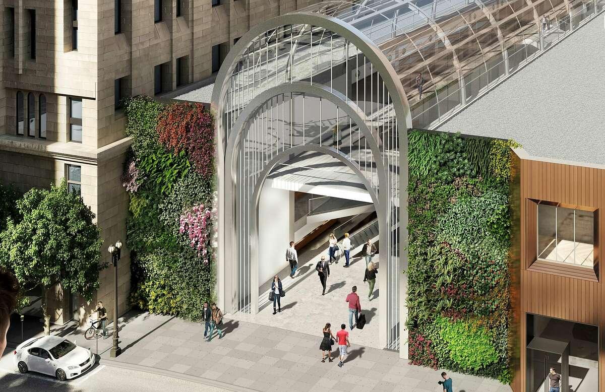 Preliminary renderings of proposed renovations at San Francisco's Crocker Galleria mall.