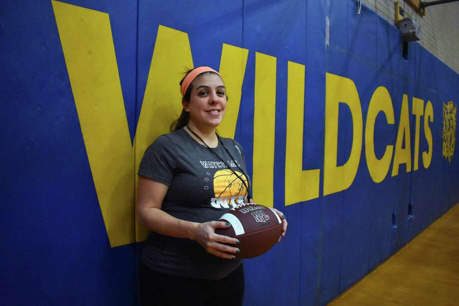 The Wolcott Tech co-op football team hired Jen Stango as its next football coach. Stango is the first female high school head football coach in Connecticut history. Feb. 19, 2019. (Pete Paguaga, Hearst Connectiut Media) Photo: Pete Paguaga / Hearst Connecticut Media / Hearst Connecticut Media / Connecticut Post