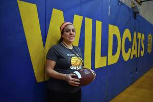 The Wolcott Tech co-op football team hired Jen Stango as its next football coach. Stango is the first female high school head football coach in Connecticut history. Feb. 19, 2019. (Pete Paguaga, Hearst Connectiut Media)
