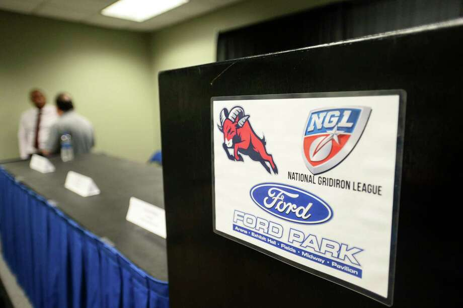 A sign with the Texas Bighorns and National Gridiron League's logo during a press conference Tuesday at Ford Park about the National Gridiron League, a new professional football league starting this spring in with a team in Beaumont. Photo taken on Tuesday, 02/19/19. Ryan Welch/The Enterprise Photo: Ryan Welch, The Enterprise / ©Ryan Welch