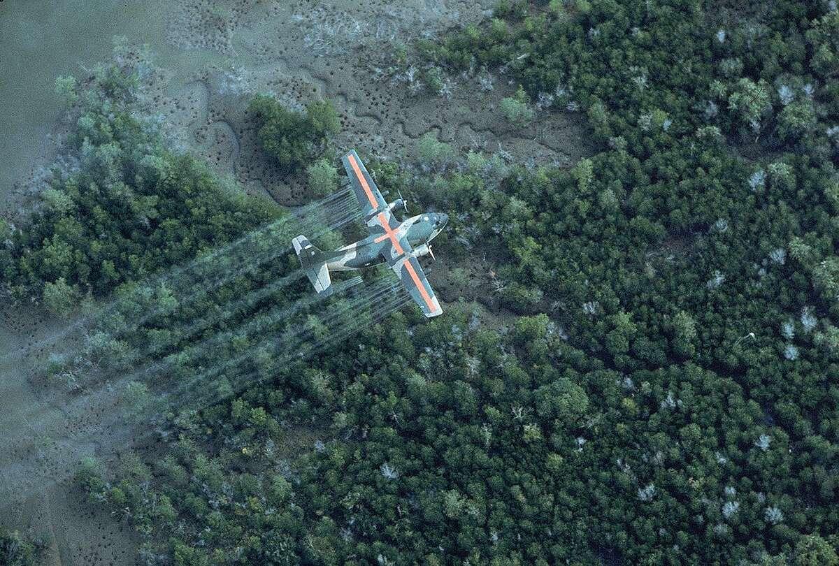 A U.S. Air Force plane spraying delta area with Agent Orange during Vietnam war, 1970.